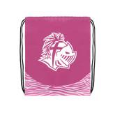 Nylon Zebra Pink/White Patterned Drawstring Backpack-Warrior Helmet
