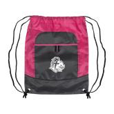 Nylon Pink Raspberry/Deep Smoke Pocket Drawstring Backpack-Warrior Helmet