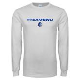 White Long Sleeve T Shirt-#TeamSWU