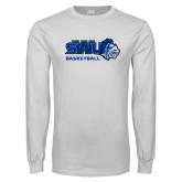White Long Sleeve T Shirt-Basketball