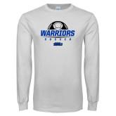 White Long Sleeve T Shirt-Soccer Half Ball