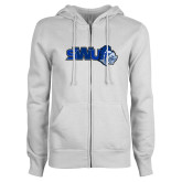 ENZA Ladies White Fleece Full Zip Hoodie-SWU w/ Knight