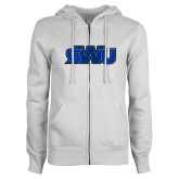 ENZA Ladies White Fleece Full Zip Hoodie-SWU