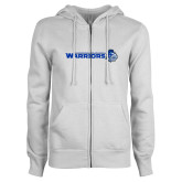 ENZA Ladies White Fleece Full Zip Hoodie-Warriors w/ Knight