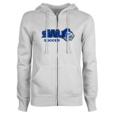 ENZA Ladies White Fleece Full Zip Hoodie-Soccer