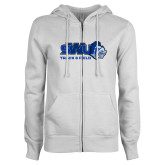 ENZA Ladies White Fleece Full Zip Hoodie-Track and Field
