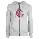 ENZA Ladies White Fleece Full Zip Hoodie-Warrior Helmet Pink Glitter