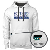 Contemporary Sofspun White Hoodie-University Wordmark