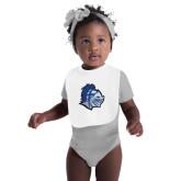 White Baby Bib-Warrior Helmet