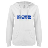 ENZA Ladies White V Notch Raw Edge Fleece Hoodie-Southern Wesleyan
