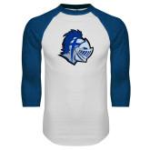 White/Royal Raglan Baseball T Shirt-Warrior Helmet