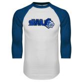 White/Royal Raglan Baseball T Shirt-SWU w/ Knight