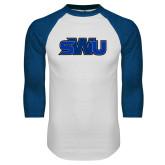 White/Royal Raglan Baseball T Shirt-SWU