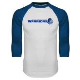 White/Royal Raglan Baseball T Shirt-Warriors w/ Knight