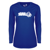 Ladies Syntrel Performance Royal Longsleeve Shirt-SWU w/ Knight