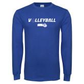 Royal Long Sleeve T Shirt-Volleyball w/ Ball