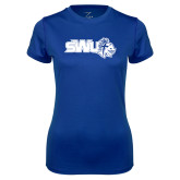 Ladies Syntrel Performance Royal Tee-SWU w/ Knight