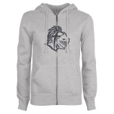 ENZA Ladies Grey Fleece Full Zip Hoodie-Warrior Helmet Graphite Soft Glitter