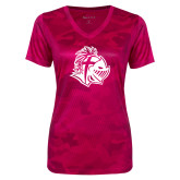 Ladies Pink Raspberry Camohex Performance Tee-Warrior Helmet