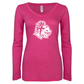 ENZA Ladies Hot Pink Long Sleeve V Neck Tee-Warrior Helmet
