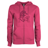 ENZA Ladies Fuchsia Fleece Full Zip Hoodie-Warrior Helmet Hot Pink Glitter
