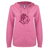 ENZA Ladies Hot Pink V Notch Raw Edge Fleece Hoodie-Warrior Helmet Hot Pink Glitter