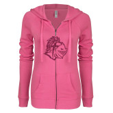 ENZA Ladies Hot Pink Light Weight Fleece Full Zip Hoodie-Warrior Helmet Hot Pink Glitter