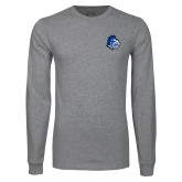 Grey Long Sleeve T Shirt-Warrior Helmet