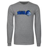 Grey Long Sleeve T Shirt-SWU w/ Knight