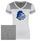 Ladies White/Heathered Grey Juniors Varsity V Neck Tee-Warrior Helmet