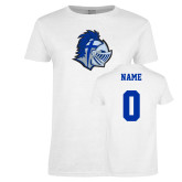 Ladies White T Shirt-Warrior Helmet, Custom Tee w/ Name and #
