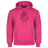 Fuchsia Fleece Hoodie-Warrior Helmet Hot Pink Glitter