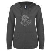 ENZA Ladies Dark Heather V Notch Raw Edge Fleece Hoodie-Warrior Helmet Silver Soft Glitter