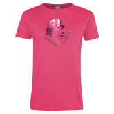 Ladies Fuchsia T Shirt-Warrior Helmet  Foil
