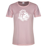 Ladies Performance Light Pink Tee-Warrior Helmet