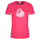 Ladies Performance Hot Pink Tee-Warrior Helmet