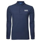 Navy Long Sleeve Polo-University Wordmark