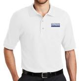 White Easycare Pique Polo-University Wordmark