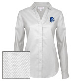 Ladies Red House Diamond Dobby White Long Sleeve Shirt-Warrior Helmet