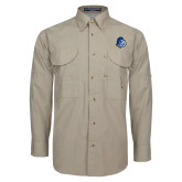 Khaki Long Sleeve Performance Fishing Shirt-Warrior Helmet