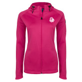 Ladies Tech Fleece Full Zip Hot Pink Hooded Jacket-Warrior Helmet
