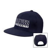 Navy Flat Bill Snapback Hat-University Wordmark
