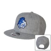 Heather Grey Wool Blend Flat Bill Snapback Hat-Warrior Helmet