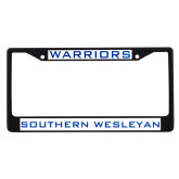 Metal License Plate Frame in Black-Warriors