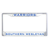 Metal License Plate Frame in Chrome-Warriors