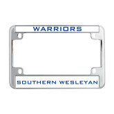 Metal Motorcycle License Plate Frame in Chrome-Warriors