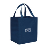 Non Woven Navy Grocery Tote-SYPy Poly Stacked
