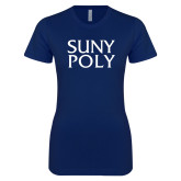 Next Level Ladies SoftStyle Junior Fitted Navy Tee-SYPy Poly Stacked