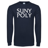 Navy Long Sleeve T Shirt-SYPy Poly Stacked
