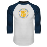 White/Navy Raglan Baseball T Shirt-University Seal